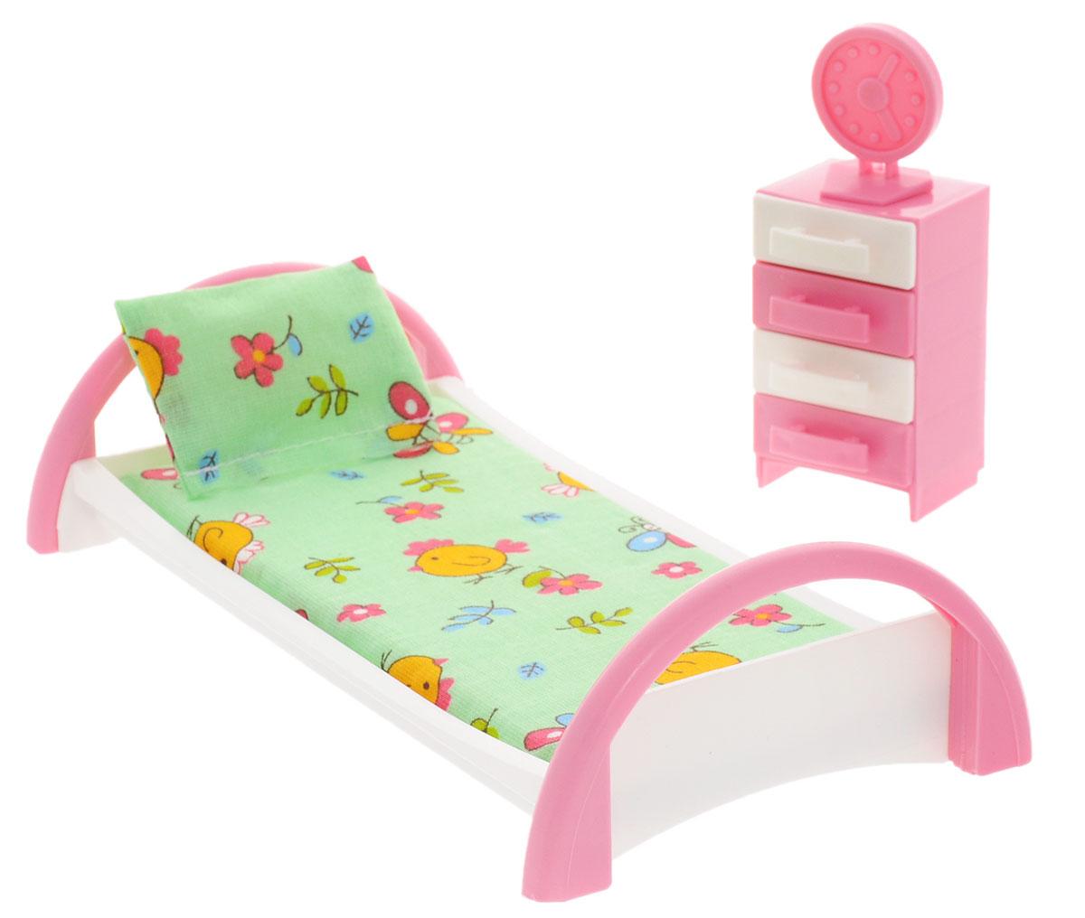Форма Набор мебели для кукол Кровать с тумбочкой цвет зеленыйС-50-Ф_зеленыйНабор мебели для кукол Форма Кровать с тумбочкой изготовлена для кукол не выше 20 см. Эти предметы мебели создают настоящий уют в кукольной спальне. Игровой набор мебели включает в себя кроватку для куклы с постельным бельем, тумбочку (у тумбочки выдвигаются ящички) и часы, которые можно установить на тумбочку. Весь набор изготовлен из прочного и безопасного материала. Порадуйте свою малышку таким замечательным подарком!