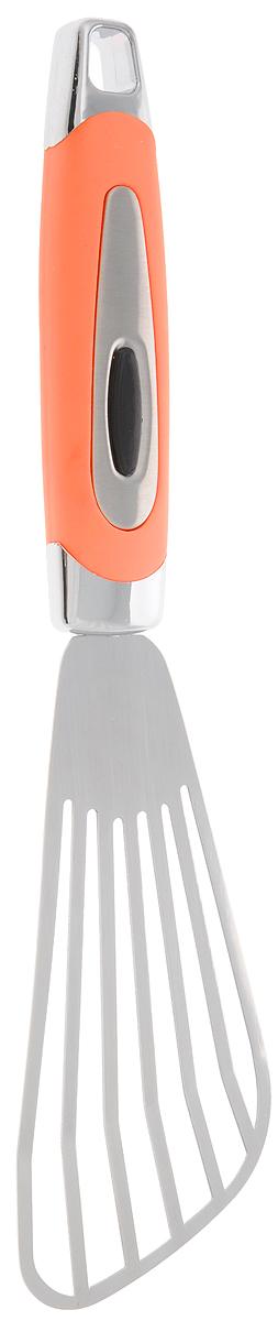 Лопатка кулинарная Gotoff, с прорезями, длина 26 смJH-HP01040Лопатка с прорезями Gotoff изготовлена из нержавеющей стали и пластика. Удобная рукоятка оснащена прорезиненной вставкой и отверстием для подвешивания. Практичная и удобная лопатка Gotoff займет достойное место среди аксессуаров на вашей кухне. Длина лопатки: 26 см. Размер рабочей части лопатки: 13 х 6 см.