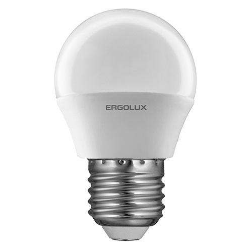 Лампа светодиодная Ergolux LED-G45-7W-E27-3K, теплый свет, 7 Вт