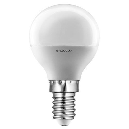 Лампа светодиодная Ergolux LED-G45-7W-E14-4K, холодный свет, 7 Вт12144Светодиодные лампы Ergolux - новое решение в светотехнике. Светодиодная лампа экономит много электроэнергии благодаря низкой потребляемой мощности. Они идеальны для основного и акцентного освещения интерьеров, витрин, декоративной подсветки. Кроме того, они создают уютную атмосферу и позволяют экономить электроэнергию уже с первого дня использования.