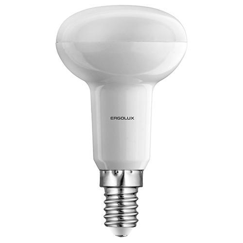 Лампа светодиодная Ergolux LED-R50-5.5W-E14-3K, теплый свет, 5,5 Вт12152Светодиодные лампы Ergolux - новое решение в светотехнике. Светодиодная лампа экономит много электроэнергии благодаря низкой потребляемой мощности. Они идеальны для основного и акцентного освещения интерьеров, витрин, декоративной подсветки. Кроме того, они создают уютную атмосферу и позволяют экономить электроэнергию уже с первого дня использования.