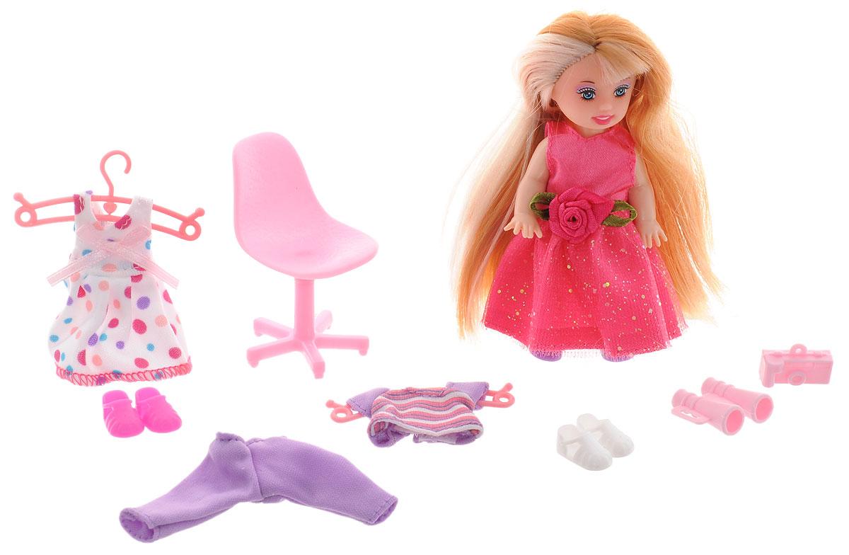 Defa Игровой набор с мини-куклой Happy Sairy Style цвет розовый белый сиреневый6010d_темно-розовый, в горошекИгровой набор с мини-куклой Defa Happy Sairy Style порадует вашу малышку и доставит ей много удовольствия от часов, посвященных игре с ним. Куколка одета в длинное розовое платье с блестящим подолом, а на ногах - сиреневые ботиночки. Длинные волосы куколки можно расчесывать и делать разнообразные прически. В комплект с куклой входят различные аксессуары: 2 комплекта одежды на вешалках, 2 пары обуви, стул, бинокль и фотоаппарат. Куклы, пожалуй, самые популярные игрушки в мире. Девочки обожают играть с ними, отправляясь в сказочную страну грез. Порадуйте свою малышку таким великолепным подарком!