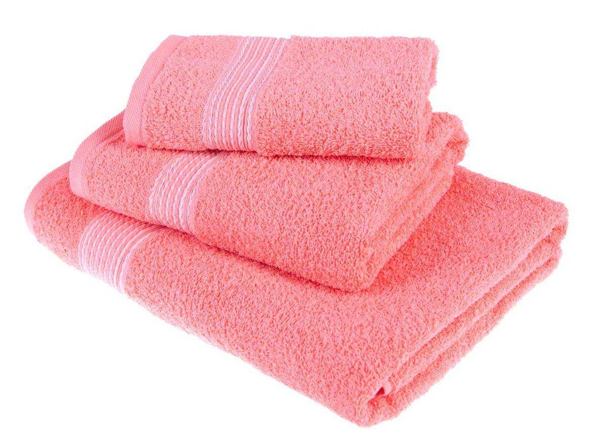 Набор полотенец Тако Текстиль, цвет: коралловый, 3 шт. 8814688146Перед использованием постирать при температуре не выше 40 градусов