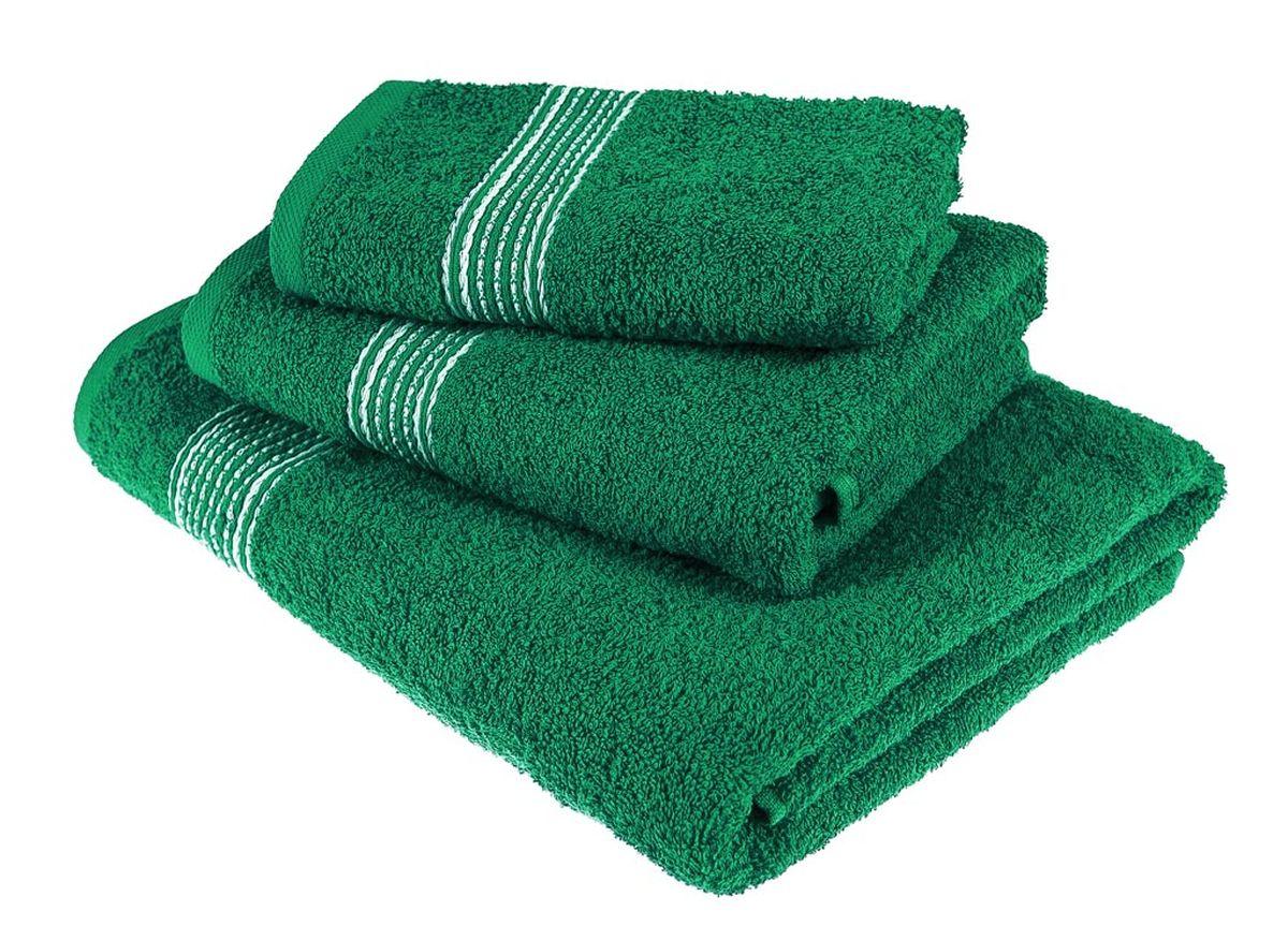 Набор полотенец Тако Текстиль, цвет: изумруд, 3 шт. 8817388173Перед использованием постирать при температуре не выше 40 градусов