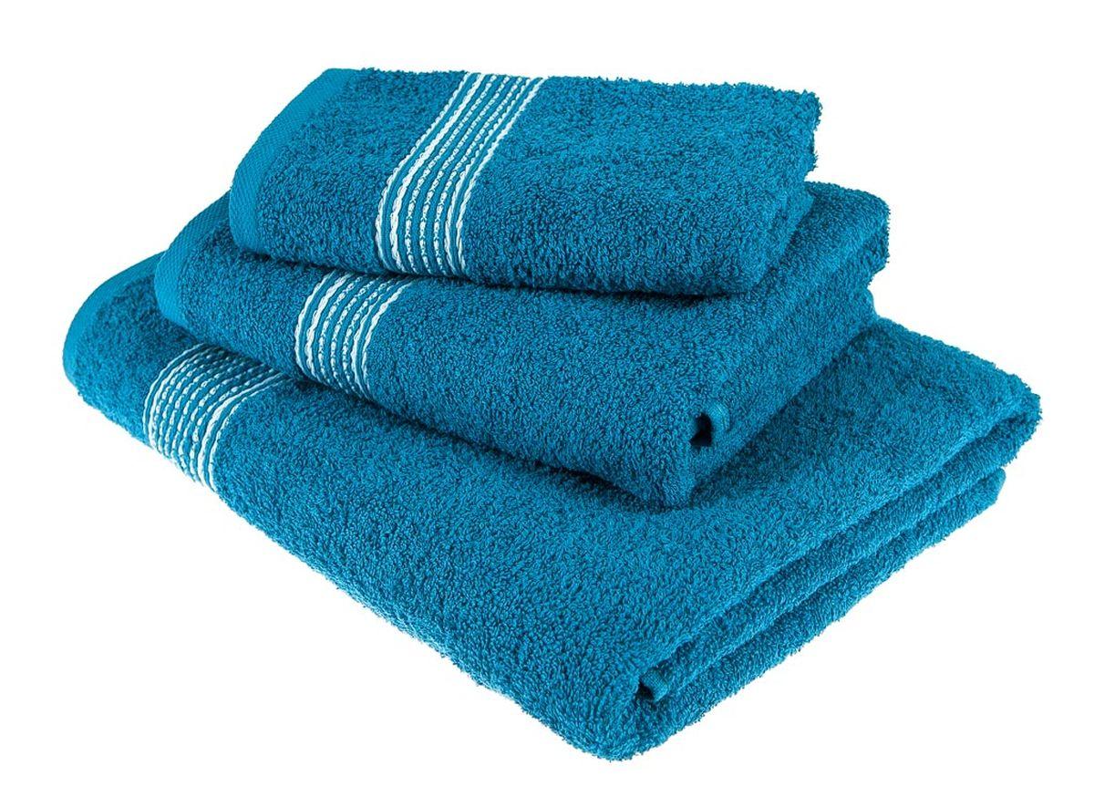 Набор полотенец Тако Текстиль, цвет: морской волны, 3 шт. 8817788177Перед использованием постирать при температуре не выше 40 градусов