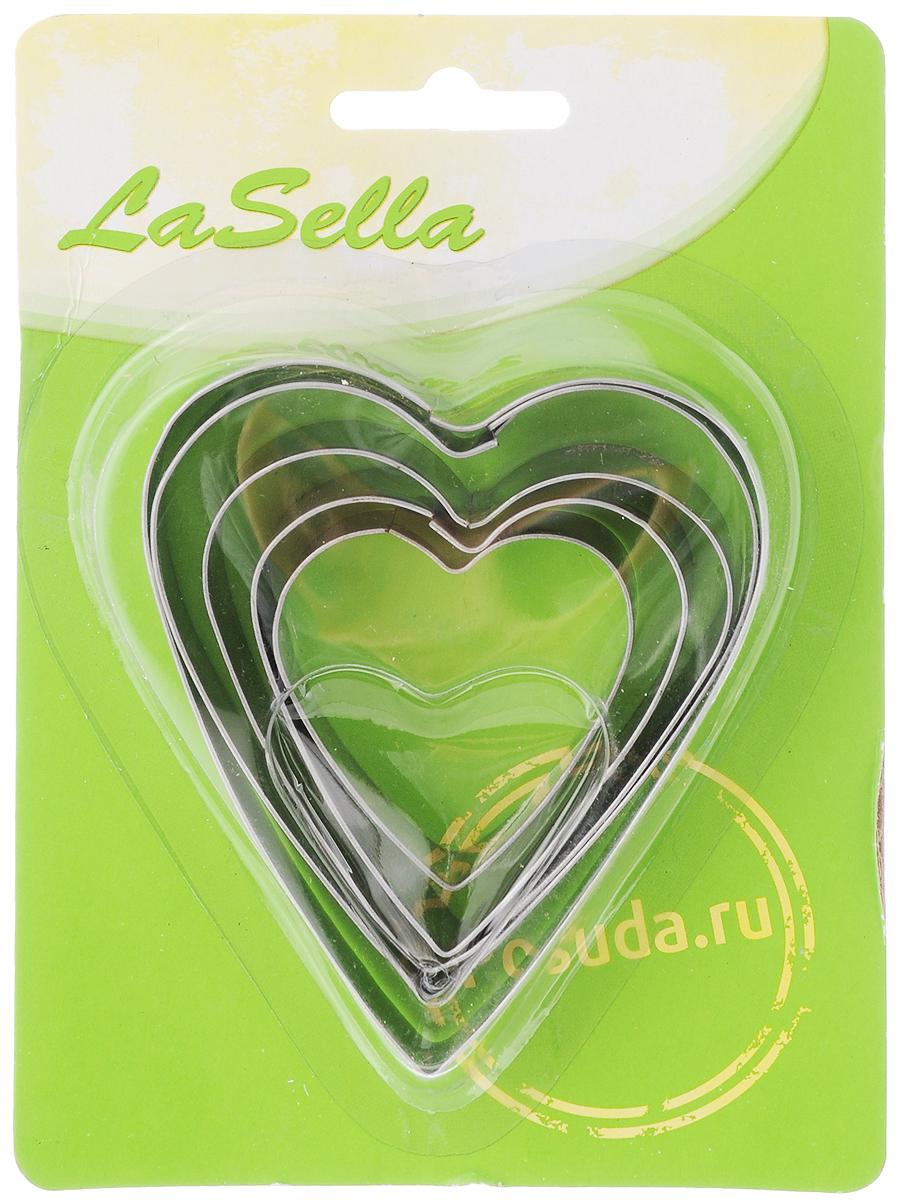 Набор форм для яичницы LaSella, цвет: серебристый, 5 штHD8035Набор форм для яичницы LaSella состоит из 5 форм в виде сердца, изготовленных из коррозионностойкой стали. Формы предназначены для приготовления яичницы, омлета, оладий. Сделайте утренний завтрак не только вкусным, но и красивым с набором форм для яичницы LaSella! Размер самой большой формы: 9 х 7,7 х 1,5 см. Размер самой маленькой формы: 4,5 х 4,3 х 1,5 см.