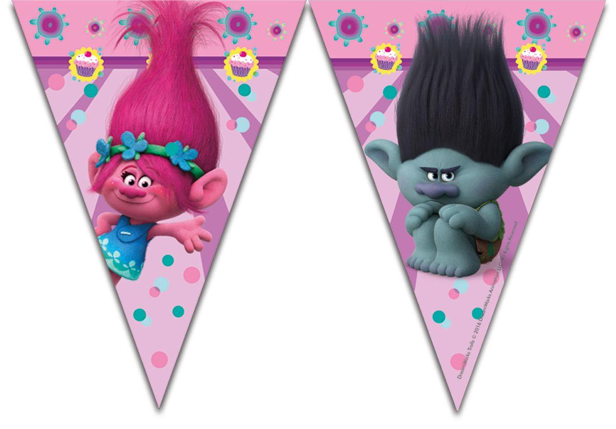 Procos Гирлянда Тролли (9 флажков)87022ирлянда из праздничной детской серии Троллистанет отличным украшением для комнаты, где будет отмечаться торжество. Ведь на любой детской вечеринке все должно быть идеально, поскольку каждому ребенку очень важно ощущать праздничное настроение. Гирлянда с любимыми мультипликационными героями отлично впишется в детский День рождения.