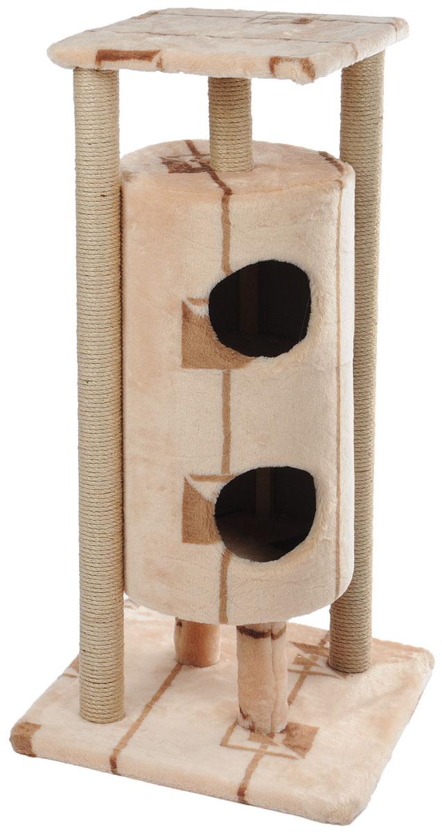 Домик-когтеточка Меридиан Ракета, 5-ярусный, цвет: бежевый, коричневый, 51 х 51 х 104 смД527ГДомик-когтеточка Меридиан Ракета выполнен из высококачественных материалов. Изделие предназначено для кошек. Уютный, домик имеет 5 ярусов. Изделие обтянуто искусственным мехом, а столбики изготовлены из джута. Ваш домашний питомец будет с удовольствием точить когти о специальные столбики. Второй и третий ярус выполнен в виде нор, где можно укрыться от посторонних глаз. Места хватит для нескольких питомцев. Домик-когтеточка Меридиан Ракета принесет пользу не только вашему питомцу, но и вам, так как он сохранит мебель от когтей и шерсти. Общий размер: 51 х 51 х 104 см. Размер нижней полки: 51 х 51 см. Размер верхней полки: 41 х 41 см. Высота двух домиков: 61 см. Диаметр домиков: 36 см.