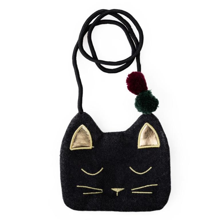 Сумка для девочки PlayToday, цвет: черный, золотой. 462716462716Текстильная сумка. Украшена вышивкой в форме мордочки котенка, декоративными ушками и помпонами. Застегивается на молнию, есть шнурок.