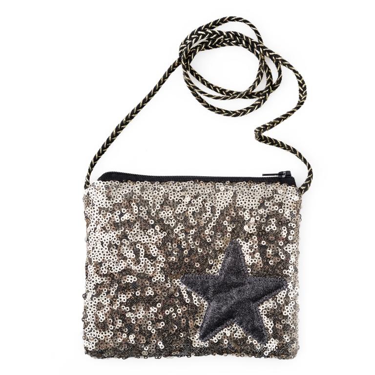 Сумка для девочки Scool, цвет: черный, золотой. 462715462715Текстильная сумка. Украшена сверкающими золотистыми пайетками и аппликацией со звездой. Застегивается на молнию. Есть черно-золотой шнур.