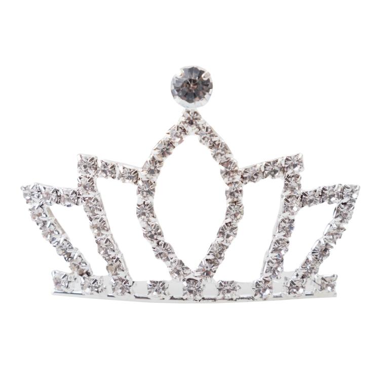 Заколка для волос PlayToday, цвет: серебристый. 462707462707Заколка для волос. Украшена короной из сверкающих серебристых страз. Завершит образ сказочной принцессы.