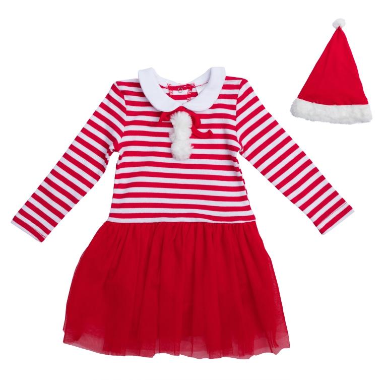 PlayToday Костюм карнавальный для девочек цвет белый красный размер 92 468010468010Хлопковое платье-боди. Полноценный наряд, не уступающий обычным боди по функциональности. Застегивается на кнопки на спине и внизу. Украшено легкой сетчатой юбкой, принтом в красно-белую полоску и декоративными помпонами из искусственного меха. Отложной воротник создает эффект многослойности. В комплекте есть шапка Санта-Клауса. Декорирована белым помпоном и меховой отделкой.