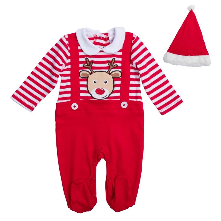 PlayToday Костюм карнавальный для мальчиков цвет красный белый размер 74 467801467801Хлопковый комбинезон. Полноценный наряд, не уступающий обычным комбинезонам по функциональности. Застегивается на кнопки на спине и внизу. Украшен декоративными подтяжками на пуговицах и аппликацией с мордочкой оленя. В комплекте есть шапка Санта-Клауса: украшена пушистым помпоном, края обработаны мягким белым мехом.