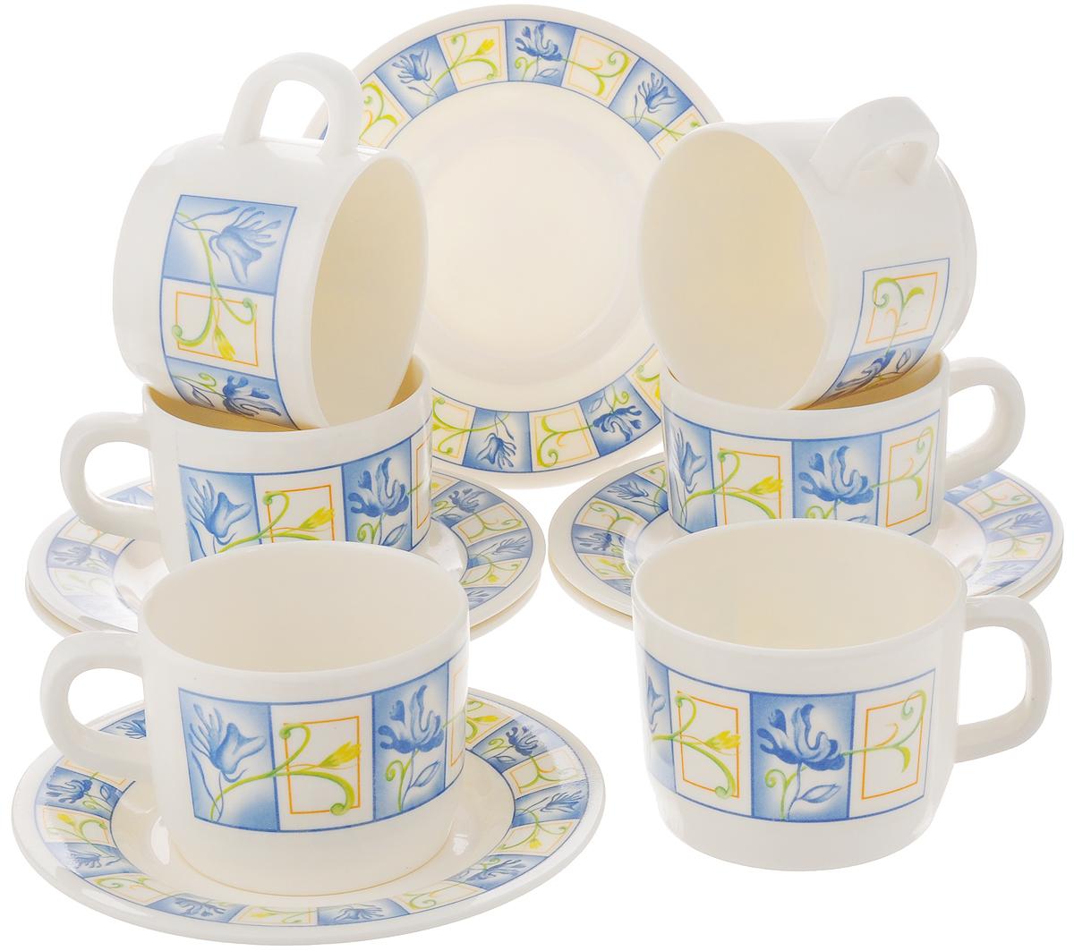 Набор чайный Calve, цвет: белый, голубой, 12 предметовCL-2509_белый, голубойЧайный набор Calve состоит из шести чашек и шести блюдец, выполненных из меламина. Изделия оформлены ярким рисунком. Изящный набор эффектно украсит стол к чаепитию и порадует вас функциональностью и ярким дизайном. Можно мыть в посудомоечной машине. Диаметр чашки (по верхнему краю): 8 см. Высота чашки: 6 см. Объем чашки: 240 мл. Диаметр блюдца: 14,5 см. Высота блюдца: 1,5 см.