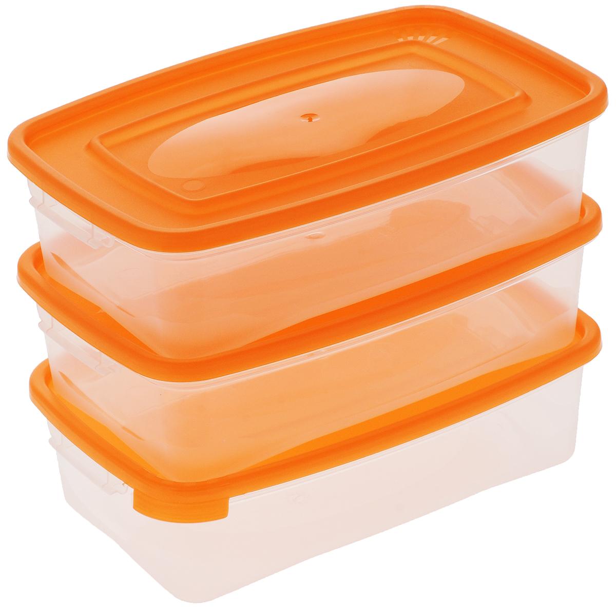Набор контейнеров Полимербыт Каскад, цвет: оранжевый, прозрачный, 700 мл, 3 штС54001_оранжевыйНабор контейнеров Полимербыт Каскад изготовлен из высококачественного прочного пластика, устойчивого к высоким температурам. Стенки контейнера прозрачные, что позволяет видеть содержимое. Цветная полупрозрачная крышка плотно закрывается. Контейнер идеально подходит для хранения пищи, его удобно брать с собой на работу, учебу, пикник или просто использовать для хранения пищи в холодильнике. Можно использовать в микроволновой печи при температуре до +120°С (при открытой крышке) и для заморозки в морозильной камере при температуре до -40°С. Можно мыть в посудомоечной машине. Размер одного контейнера: 18,5 х 12 х 5,5 см. Комплектация: 3 шт.