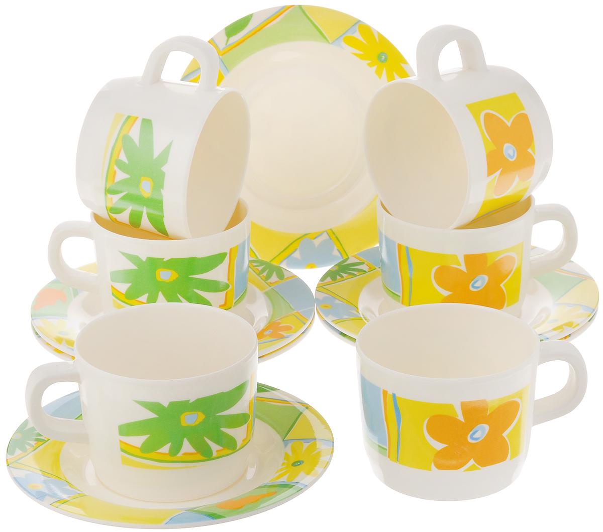 Набор чайный Calve, цвет: белый, желтый, 12 предметовCL-2509_белый, желтыйЧайный набор Calve состоит из шести чашек и шести блюдец, выполненных из меламина. Изделия оформлены ярким рисунком. Изящный набор эффектно украсит стол к чаепитию и порадует вас функциональностью и ярким дизайном. Можно мыть в посудомоечной машине. Диаметр чашки (по верхнему краю): 8 см. Высота чашки: 6 см. Объем чашки: 240 мл. Диаметр блюдца: 14,5 см. Высота блюдца: 1,5 см.