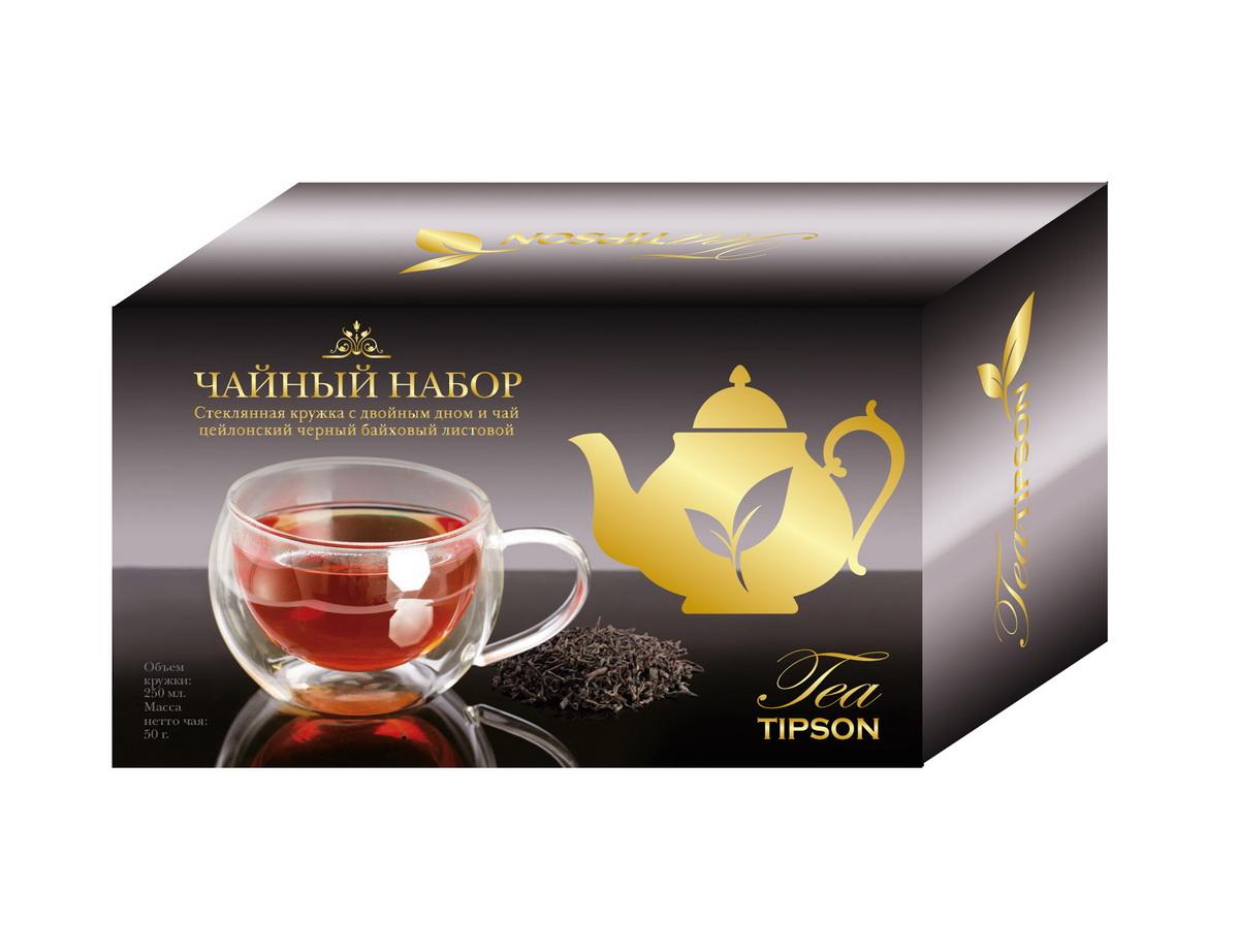 Tipson Империал №1 набор черного листового чая в стеклянной кружке с двойным дном, 50 г10079-00Праздничный набор TIPSON Империал I изготовлен из дизайнерского картона , включает в себя бережно упакованную, элегантную кружку из стекла с двойным дном и упаковку Цейлонского черного чая TIPSON. Набор идеально подойдет, настоящим ценителям классического черного чая и согреет душу уютными семейными вечерами.
