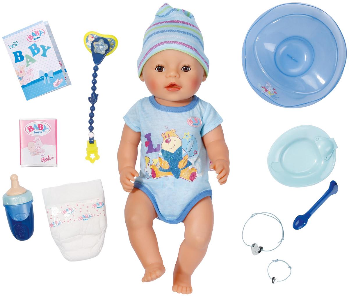 Baby Born Пупс цвет одежды серый голубой822-012Пупс-мальчик Baby Born порадует вашу малышку и доставит ей много удовольствия от часов игры. В комплект с пупсом входят боди и шапочка, горшок, бутылочка, соска, цепочка для соски, памперс, питание, тарелочка с ложкой, два браслета (один - для куклы, другой - для девочки). Пупс Baby Born плачет настоящими слезами, закрывает глазки, пьет и писает в памперс. Его можно купать. Также его можно кормить, после чего он сходит на горшок. При нажатии на пупочек малыш писает, при втором нажатии - какает. Игра с пупсом разовьет в вашей малышке фантазию и любознательность, поможет овладеть навыками общения и научит ролевым играм, воспитает чувство ответственности и заботы. Порадуйте ее таким замечательным подарком!