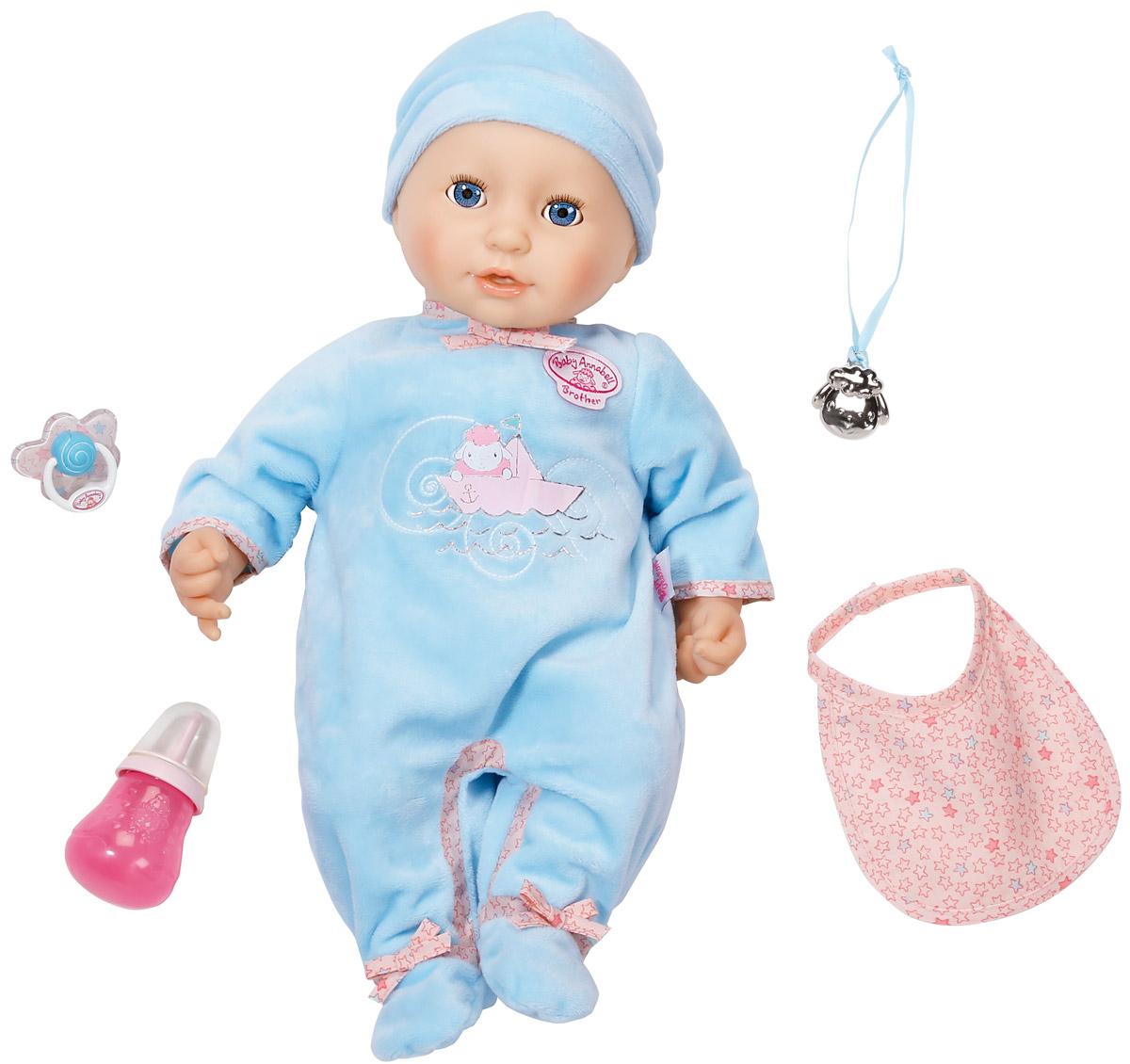 Baby Annabell Пупс с мимикой в голубом комбинезоне 794-654794-654Интерактивная кукла Baby Annabell порадует вашу малышку и доставит ей много удовольствия от часов, посвященных игре с ней. Пупс выглядит совсем как настоящий младенец. У мальчика большие голубые глазки, длинные ресницы, пухлые розовые щечки и поджатые губки. Малыш одет в голубой комбинезон, на голове шапочка. Ручки, ножки и голова выполнены из высококачественного мягкого винила, туловище мягконабивное. Кукла выглядит очень реалистично и ведет себя как настоящий ребенок. Пупс обладает живой мимикой, он смешно двигает ртом и причмокивает, когда сосет соску или пьет из бутылочки. При этом у него сонно открываются и закрываются глазки. Малыш реагирует на маму, издавая различные звуки, чихает, хихикает, агукает, что-то лепечет и посапывает во время сна. После кормления малыш срыгивает. Если его испугает громкий звук, он начнет плакать настоящими слезами и успокоится, только получив соску или бутылочку. Активировать данную функцию можно нажав на...