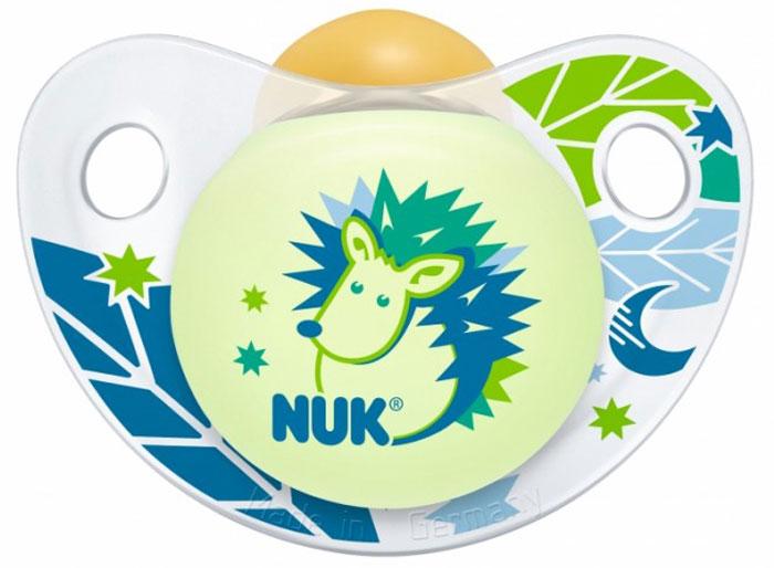 NUK Пустышка латексная Night & Day Ёж ортодонтическая от 18 до 36 месяцев