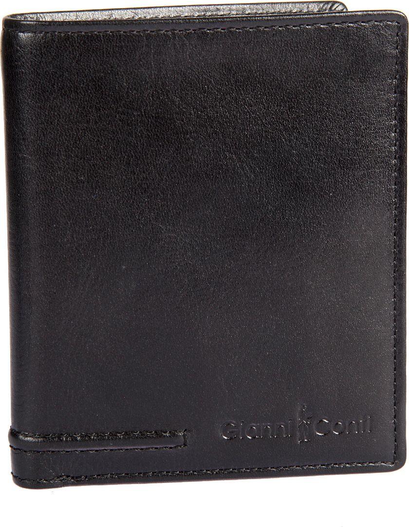 Портмоне мужское Gianni Conti, цвет: черный. 707105707105раскладывается пополам внутри два отдела для купюр девять кармашков для пластиковых карт два потайных кармана сетчатое отделение для пропуска