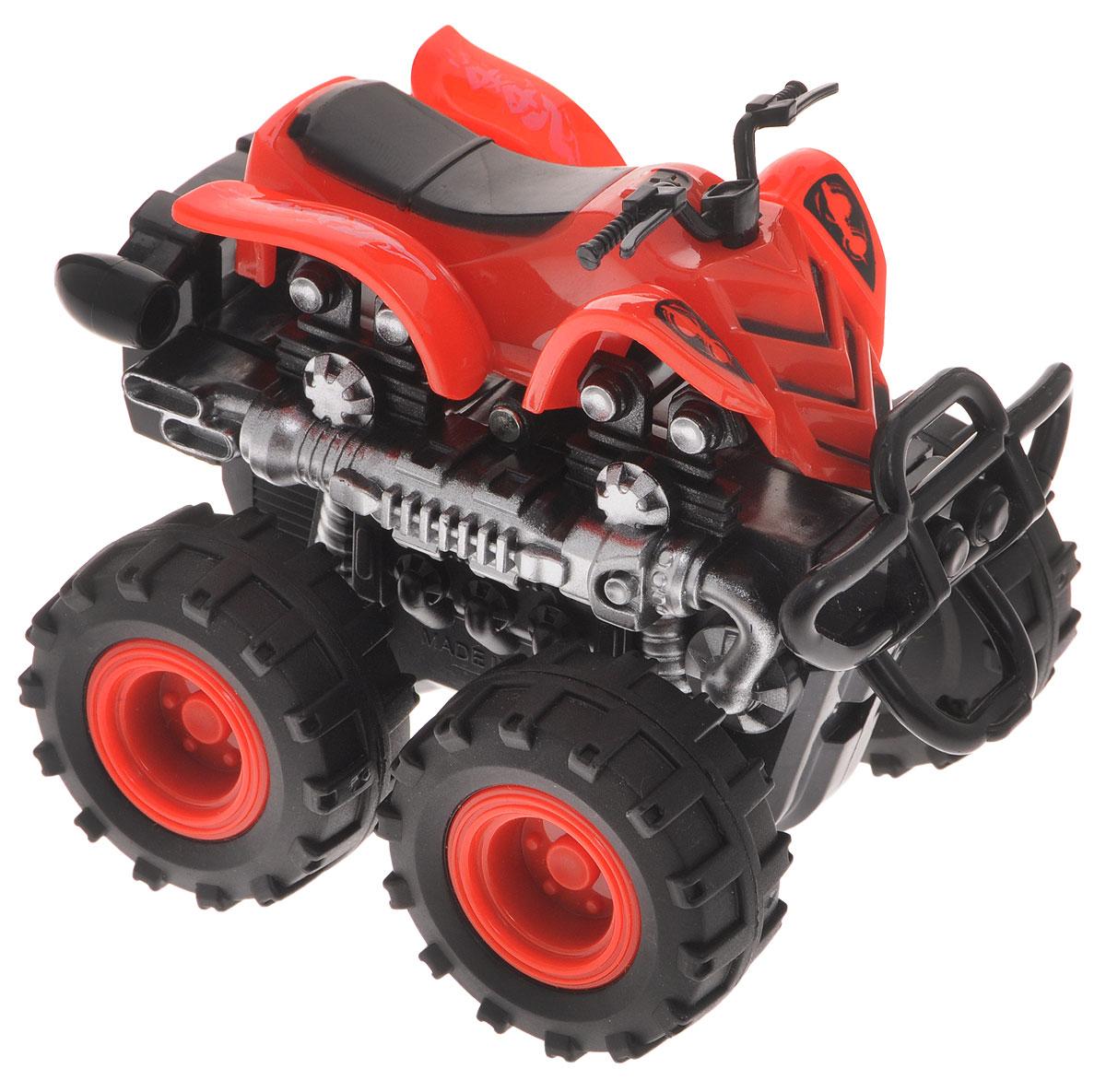 Big Motors Квадроцикл инерционный 4 WD цвет красный806B_красныйКвадроцикл инерционный Big Motors 4WD станет любимой игрушкой вашего малыша. Игрушка представляет собой мощный квадроцикл с большими колесами. Машинка оснащена инерционным механизмом. Достаточно немного подтолкнуть машинку вперед или назад, а затем отпустить, и она сама поедет в ту же сторону. Ваш ребенок будет увлеченно играть с этим квадроциклом, придумывая различные истории. Порадуйте его таким замечательным подарком!