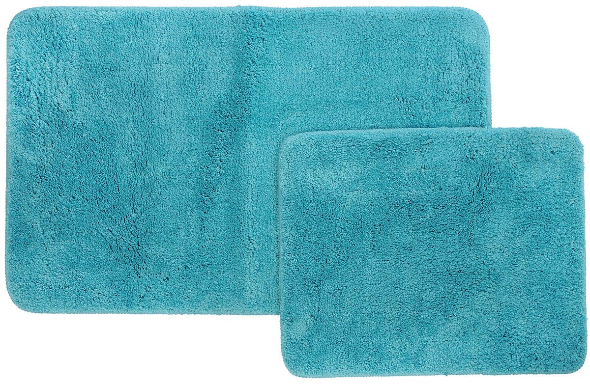 Набор ковриков для ванной и туалета Axentia, цвет: бирюзовый, 2 шт116137Набор Axentia, выполненный из микрофибры (100% полиэстер), состоит из двух стеганых ковриков для ванной комнаты и туалета. Противоскользящее основание изготовлено из термопластичной резины и подходит для полов с подогревом. Коврики мягкие и приятные на ощупь, отлично впитывают влагу и быстро сохнут. Высокая износостойкость ковриков и стойкость цвета позволит вам наслаждаться покупкой долгие годы. Можно стирать в стиральной машине. Размер ковриков: 50 х 80 см; 50 х 40 см. Высота ворса 1,5 см.