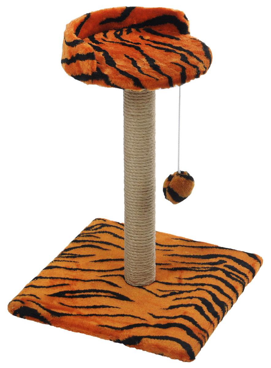 Когтеточка Меридиан Арена, цвет: оранжевый, черный, бежевый, 40 х 40 х 59 см. К515К515ТКогтеточка Меридиан Арена поможет сохранить мебель и ковры в доме от когтей вашего любимца, стремящегося удовлетворить свою естественную потребность точить когти. Когтеточка изготовлена из ДСП, искусственного меха и джута. Товар продуман в мельчайших деталях и, несомненно, понравится вашей кошке. Подвесная игрушка привлечет внимание питомца. Сверху имеется полка с бортом, на которой кошка сможет отдохнуть. Всем кошкам необходимо стачивать когти. Когтеточка - один из самых необходимых аксессуаров для кошки. Для приучения к когтеточке можно натереть ее сухой валерьянкой или кошачьей мятой. Когтеточка поможет вашему любимцу стачивать когти и при этом не портить вашу мебель. Размер основания: 40 х 40 см. Высота когтеточки: 59 см. Диаметр полки: 28 см.