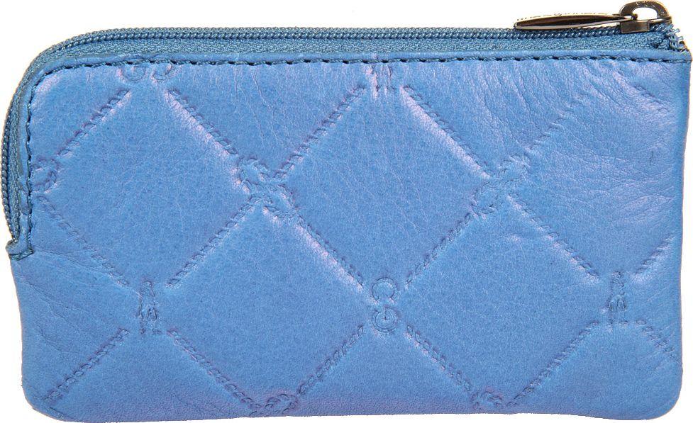 Ключница женская Gianni Conti, цвет: синий. 35890733589073закрывается на молнию внутри два кольца для ключей снаружи, на передней стенке, карман на молнии
