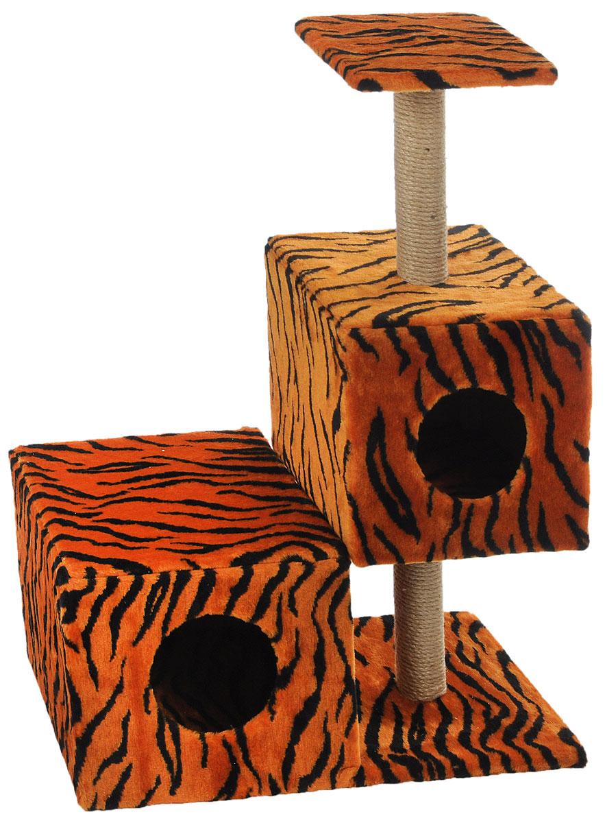 """Домик-когтеточка Меридиан """"Разноуровневый"""", 3-ярусный, цвет: оранжевый, черный, бежевый, 66 х 36 х 94 см Д133Т"""