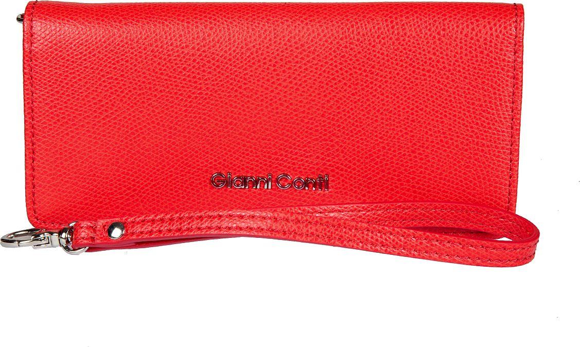 Портмоне женское Gianni Conti, цвет: красный. 21582852158285закрывается широким клапаном на кнопке внутри отделение для купюр два кармана для документов пять кармашков для пластиковых карт сетчатый кармашек снаружи на задней стенке карман на молнии оснащено съемным ремешком на запястье