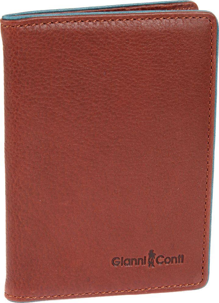 Обложка для паспорта мужская Gianni Conti, цвет: коричневый. 17574931757493 brown tealобложка раскладывается пополам внутри левое поле из натуральной кожи (4 см) правое поле из натуральной кожи (3.5 см)