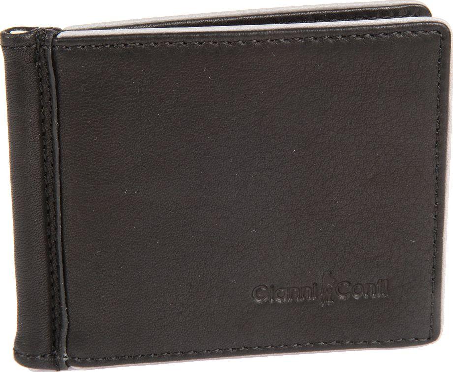 Зажим для денег мужской Gianni Conti, цвет: черный. 17571011757101 black greyраскладывается пополам внутри металлический зажим для купюр восемь кармашков для пластиковых карт