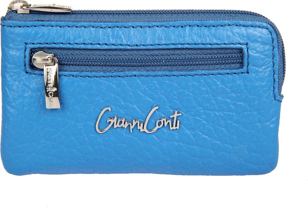 Ключница женская Gianni Conti, цвет: синий. 15490731549073закрывается на молнию внутри два кольца для ключей снаружи на передней стенке карман на молнии