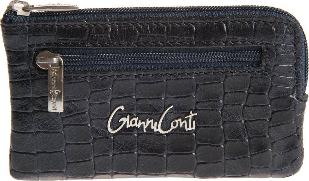 Ключница женская Gianni Conti, цвет: темно-синий. 13890731389073закрывается на молнию внутри два кольца для ключей снаружи на передней стенке карман на молнии