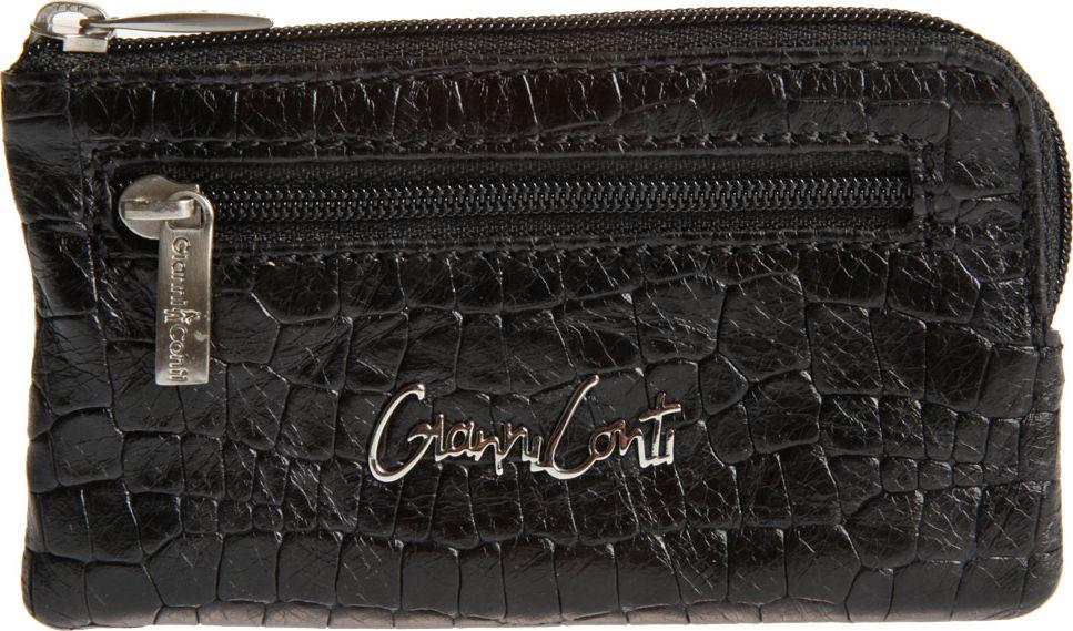Ключница женская Gianni Conti, цвет: черный. 13890731389073закрывается на молнию внутри два кольца для ключей снаружи на передней стенке карман на молнии