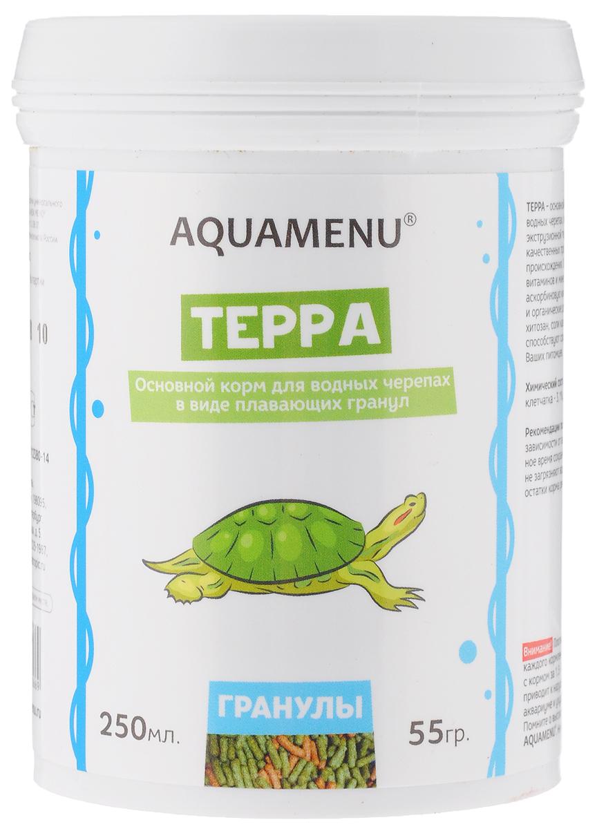 Корм Aquamenu Терра, для водных черепах, 250 мл (55 г)00000001145Корм Aquamenu Терра - это основной корм в виде плавающих гранул для водных черепах. Корм изготовлен по современной экструзионной технологии из натуральных высококачественных продуктов животного и растительного происхождения. Содержит водоросли, комплекс витаминов и минералов, стабилизированную аскорбиновую кислоту. Специальные минеральные и органические добавки укрепляют иммунитет и способствуют сохранению скелета и панциря ваших питомцев. Товар сертифицирован.