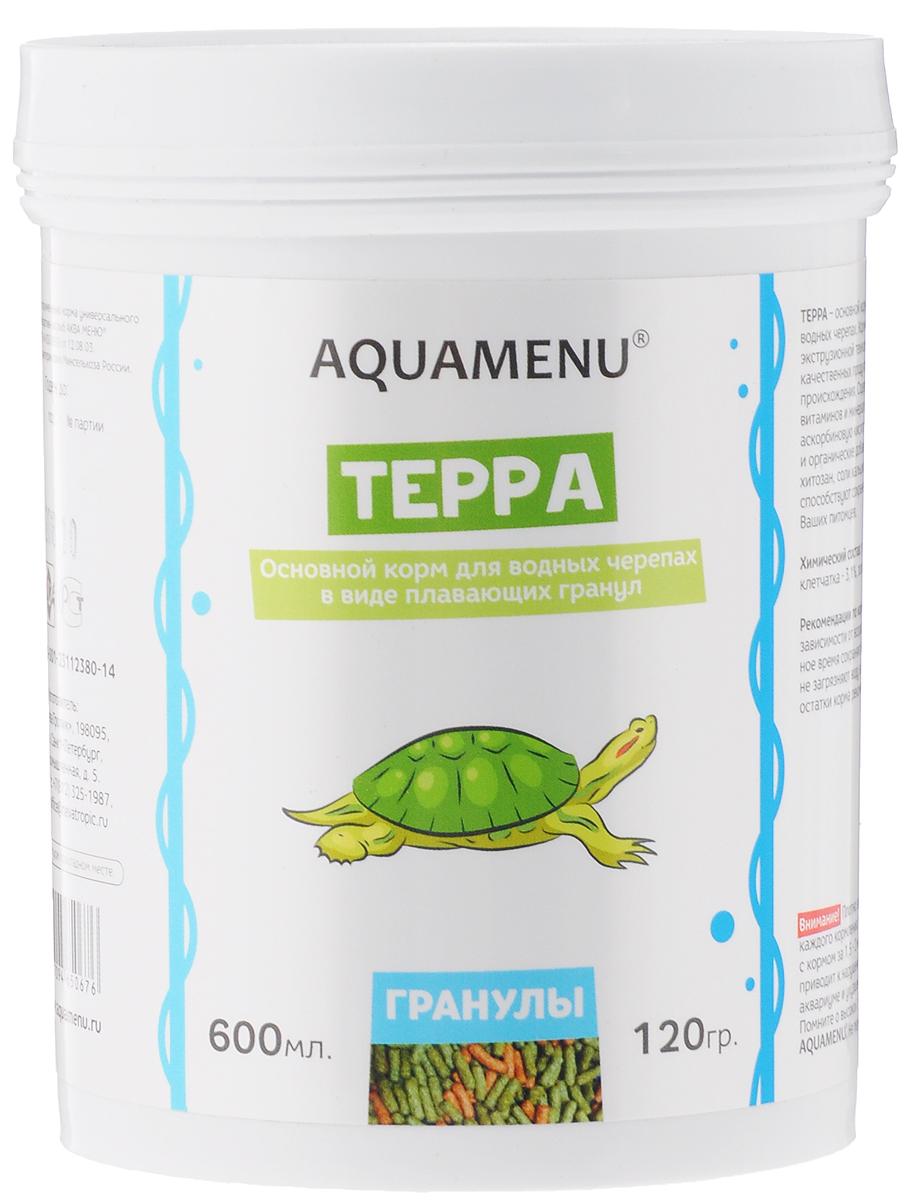 Корм Aquamenu Терра, для водных черепах, 600 мл (120 г)00000001146Корм Aquamenu Терра - это основной корм в виде плавающих гранул для водных черепах. Корм изготовлен по современной экструзионной технологии из натуральных высококачественных продуктов животного и растительного происхождения. Содержит водоросли, комплекс витаминов и минералов, стабилизированную аскорбиновую кислоту. Специальные минеральные и органические добавки укрепляют иммунитет и способствуют сохранению скелета и панциря ваших питомцев. Товар сертифицирован.
