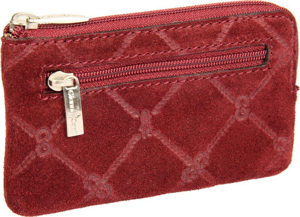 Ключница женская Gianni Conti, цвет: бордовый. 36290733629073закрывается на молнию внутри два кольца для ключей снаружи на передней стенке карман на молнии