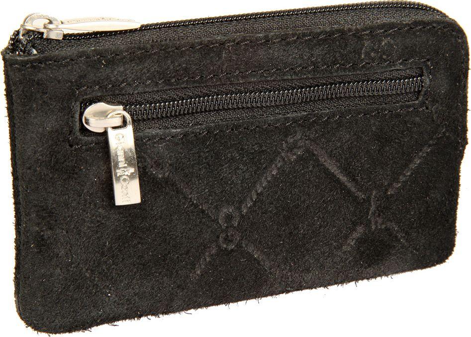 Ключница женская Gianni Conti, цвет: черный. 36290733629073закрывается на молнию внутри два кольца для ключей снаружи на передней стенке карман на молнии