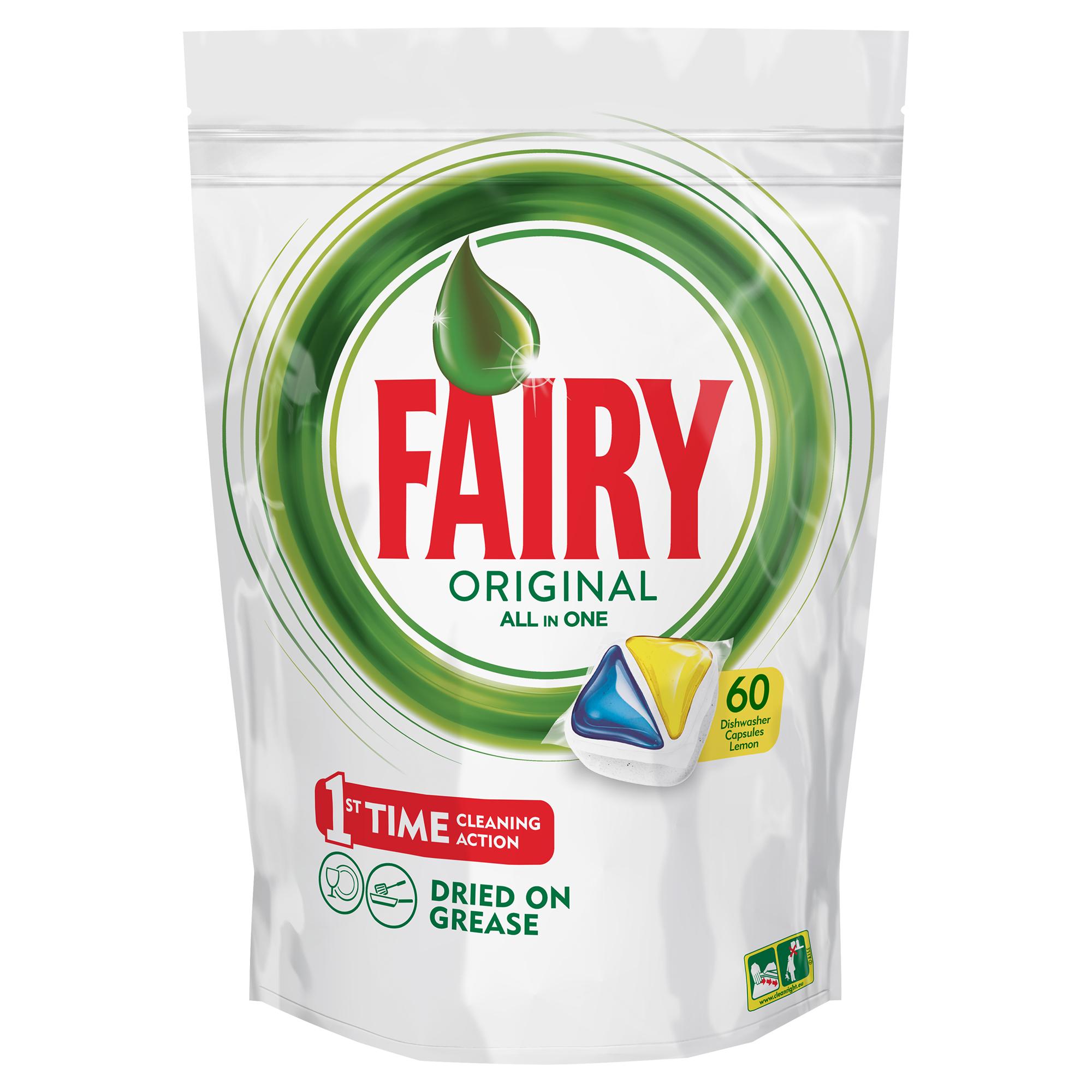 Капсулы для посудомоечной машины Fairy Original All In One. Лимон, 60 штFR-81607023Капсулы для посудомоечной машины Fairy Original All in One идеально отмывают посуду со сложными загрязнениями с 1-го раза. Fairy Original содержит гель и порошок в одной капсуле. Капсула растворяется гораздо быстрее, чем другие таблетки для посудомоечной машины, и поэтому начинает действовать немедленно. Кроме того, капсулы Fairy очень просты в использовании – просто поместите их в посудомоечную машину (не нужно распаковывать). Сила Fairy теперь и для посудомоечных машин! Идеально чистая посуда с 1-го раза. Справляется с засохшей и пригоревшей грязью. Капсулы для посудомоечной машины Fairy Original All in One Очистит даже самые сложные загрязнения. С функцией супер-сияния посуды. С добавлением соли и ополаскивателя, а так же с защитой стекла и серебра. Сохраняет приятный запах в посудомоечной машине С жидким моющим средством для борьбы со сложным жиром. Произведено и протестировано для использования во всех посудомоечных машинах. Готовы к использованию. Не нужно разворачивать. 1...