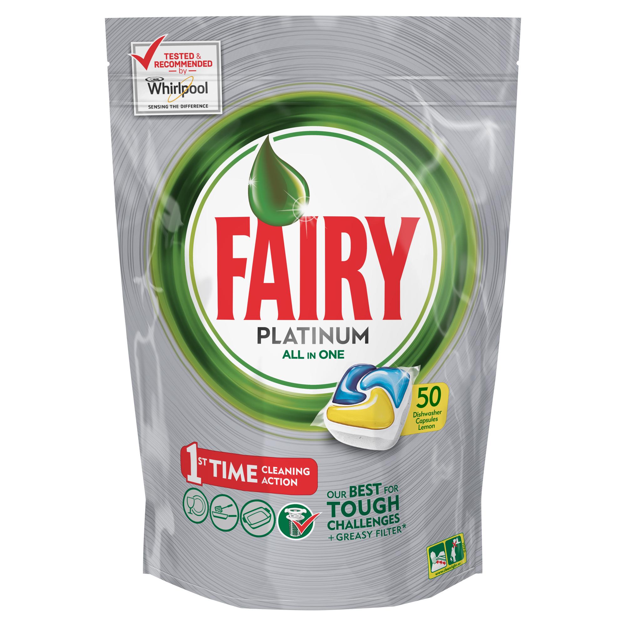 Капсулы для посудомоечной машины Fairy Platinum Лимон, 50 штFR-81607017Капсулы для посудомоечной машины Fairy Platinum All in One идеально отмоют посуду с 1-го раза и безупречно справятся с любыми сложными загрязнениями – от засохшего и пригоревшего жира до пятен от чая. С новыми капсулами Fairy Platinum ваша посуда будет сиять благодаря специальной формуле с усилителем блеска. Теперь вы можете готовить что угодно и быть уверенным, что ваша машинка с легкостью справится с грязной посудой благодаря Fairy Platinum. Капсула растворяется гораздо быстрее, чем другие таблетки для посудомоечной машины, и поэтому начинает действовать немедленно. Кроме того, капсулы Fairy очень просты в использовании – просто поместите их в посудомоечную машину (не нужно распаковывать). Сила Fairy Platinum теперь и для посудомоечных машин! Лучшая формула Fairy для идеально чистой посуды с 1-го раза. Легко справится даже с засохшей и пригоревшей грязью. Капсулы для посудомоечной машины Fairy Platinum All in One dishwasher tablets Такой сильный, что очистит даже фильтр от...