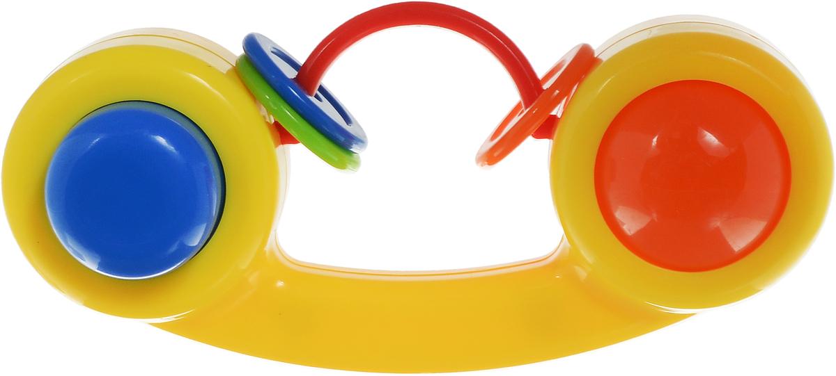 Малышарики Погремушка Телефон цвет желтыйMSH0302-006Яркая и красочная погремушка Малышарики Телефон обязательно привлечет внимание малыша и поможет ему начать познавать мир, развивая необходимые в будущем навыки и способности. Погремушка выполнена из безопасных материалов в виде телефонной трубки. На дуге в центре погремушки расположены 3 разноцветные колечка, которые, сталкиваясь, негромко звенят. Также погремушка дополнена большой кнопкой и вращающейся двухцветной сферой. Забавная погремушка поможет малышу научиться фокусировать внимание, держать предметы, различать звуки, а также познакомит с формами и цветами. С первых месяцев жизни малыш начинает интересоваться яркими, подвижными предметами, ведь они являются его главными помощниками в изучении удивительного мира. Погремушка развивает мелкую моторику и слуховое восприятие.