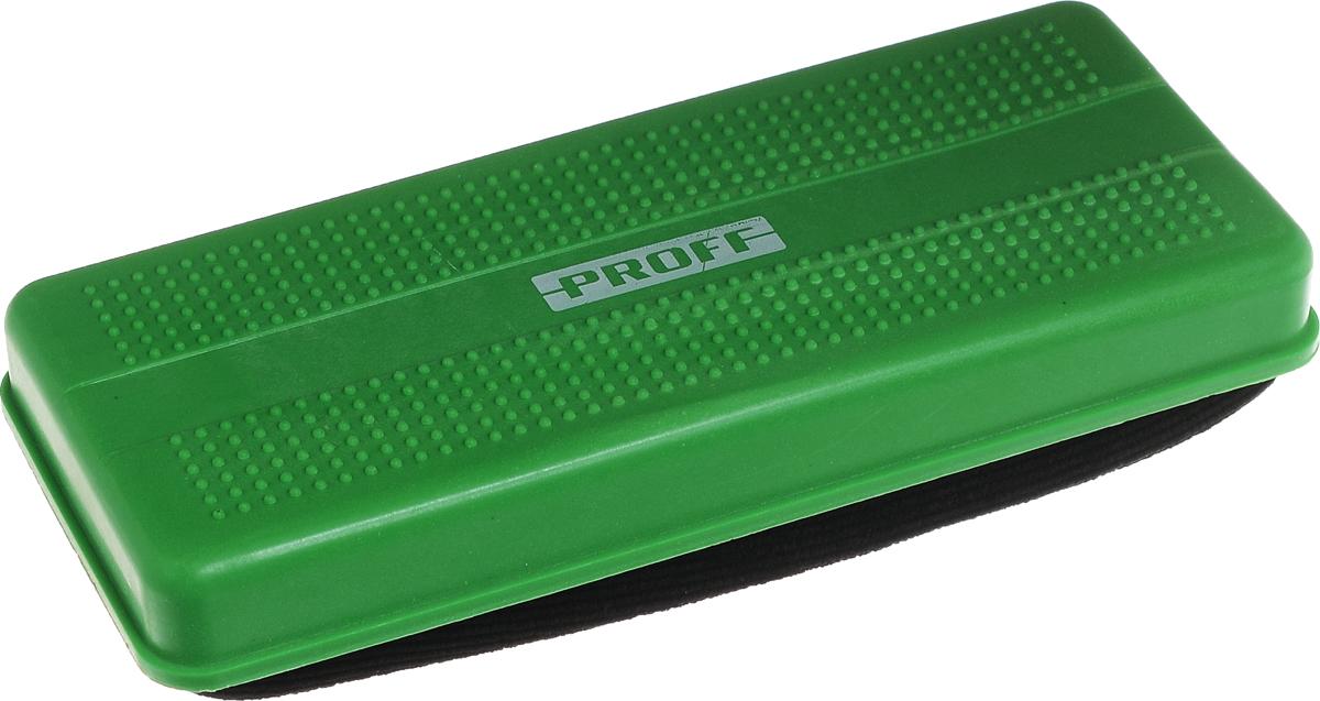 Proff Стирательная губка для офисных досок цвет зеленыйPF-1230_зеленыйГубка для офисных досок Proff - неотъемлемый атрибут любого офиса. Она предназначена специально для маркерных и меловых досок. Губка имеет прямоугольную форму. Верхняя ее часть изготовлена из пластика зеленого цвета и имеет рельефную поверхность. Стирающий элемент выполнен из мягкого на ощупь материала.