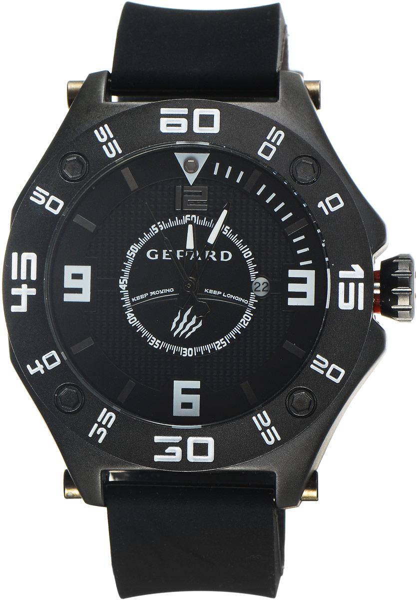 Наручные часы мужские Gepard, цвет: черный. 1222A11L11222A11L1Наручные часы Gepard выполнены из металла. Циферблат оформлен символикой бренда. Оригинальная композиция двухуровневого циферблата представлена в виде сочетания ярких арабских цифр и широких стальных знаков, которую оттеняет необычное гильоширование «женевские гвозди» на нижнем уровне. Часы оснащены кварцевым механизмом, дополнены устойчивым к царапинам минеральным стеклом. Задняя крышка изготовлена из высокотехнологичной нержавеющей стали. Часы снабжены эргономичным силиконовым ремнем с надежной застежкой.