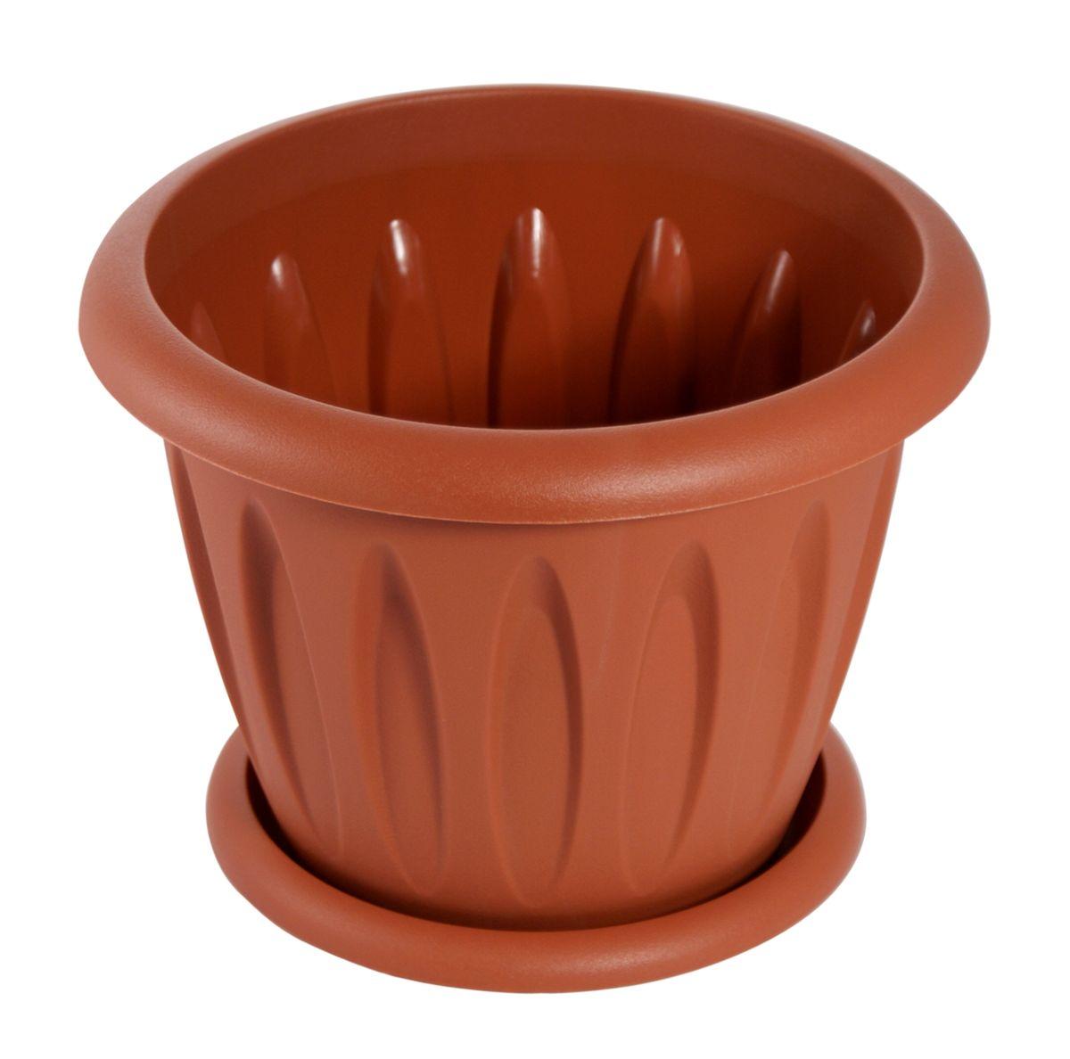 Горшок для цветов Martika Фелиция, с поддоном, цвет: терракотовый, 3,6 лMRC104TПластиковое изделие для дома, соответствующее всем необходимым санитарным нормам и стандартам качества. Изготовлено для цветоводства и растениеводства. Рекомендуется для выращивания растений дома и на приусадебных участках.