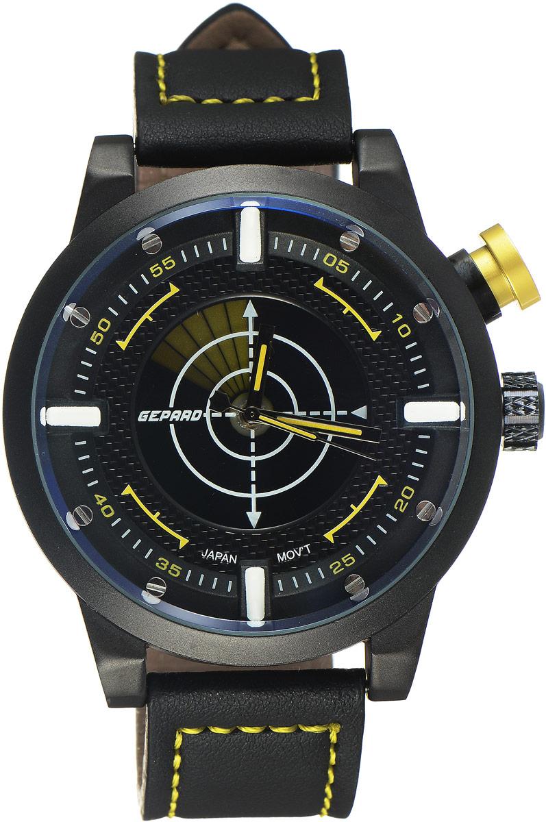 Наручные часы мужские Gepard, цвет: черный, желтый. 1225A11L41225A11L4Наручные часы Gepard выполнены из металла и минерального стекла. Циферблат оформлен в четырех уровнях, что придает этим бескомпромиссно мужским часам современный вид. При нажатии на большую кнопку над переводной головкой в центральной части циферблата запускается и останавливается вращение сектора, обегающего круг за четыре секунды. Минеральное стекло с сапфировым напылением устойчиво к царапинам. Ремень из искусственной кожи с контрастной прострочкой комплектуется стальной застежкой-пряжкой, гарантирующей комфорт и надежность.