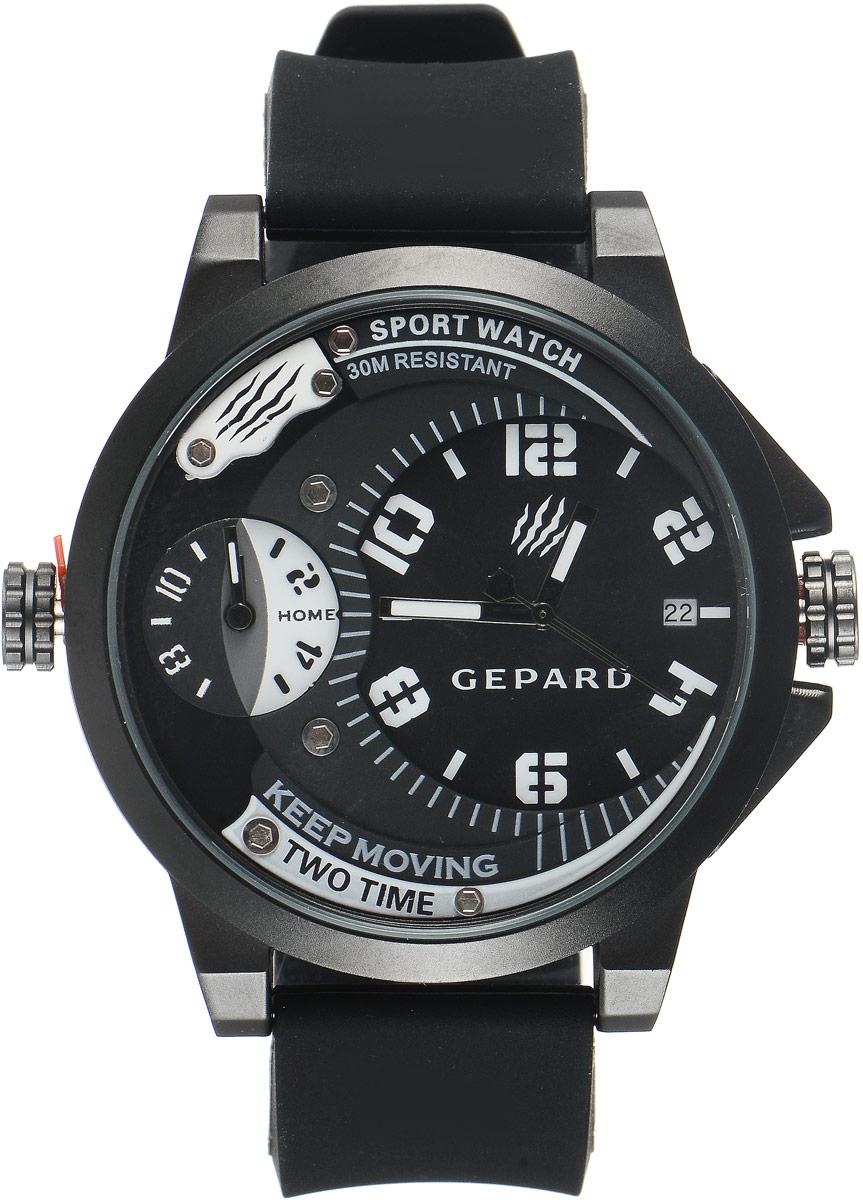 Наручные часы мужские Gepard, цвет: черный, белый. 1221A11L11221A11L1Наручные часы Gepard выполнены из металла и минерального стекла. Циферблат оформлен символикой бренда. Корпус часов оформлен матовой поверхностью с весьма оригинальным циферблатом. Часы оснащены кварцевым механизмом, дополнены устойчивым к царапинам минеральным стеклом. Ремешок выполнен из силикона и оснащен пряжкой, благодаря которой можно с легкостью снимать и надевать изделие.
