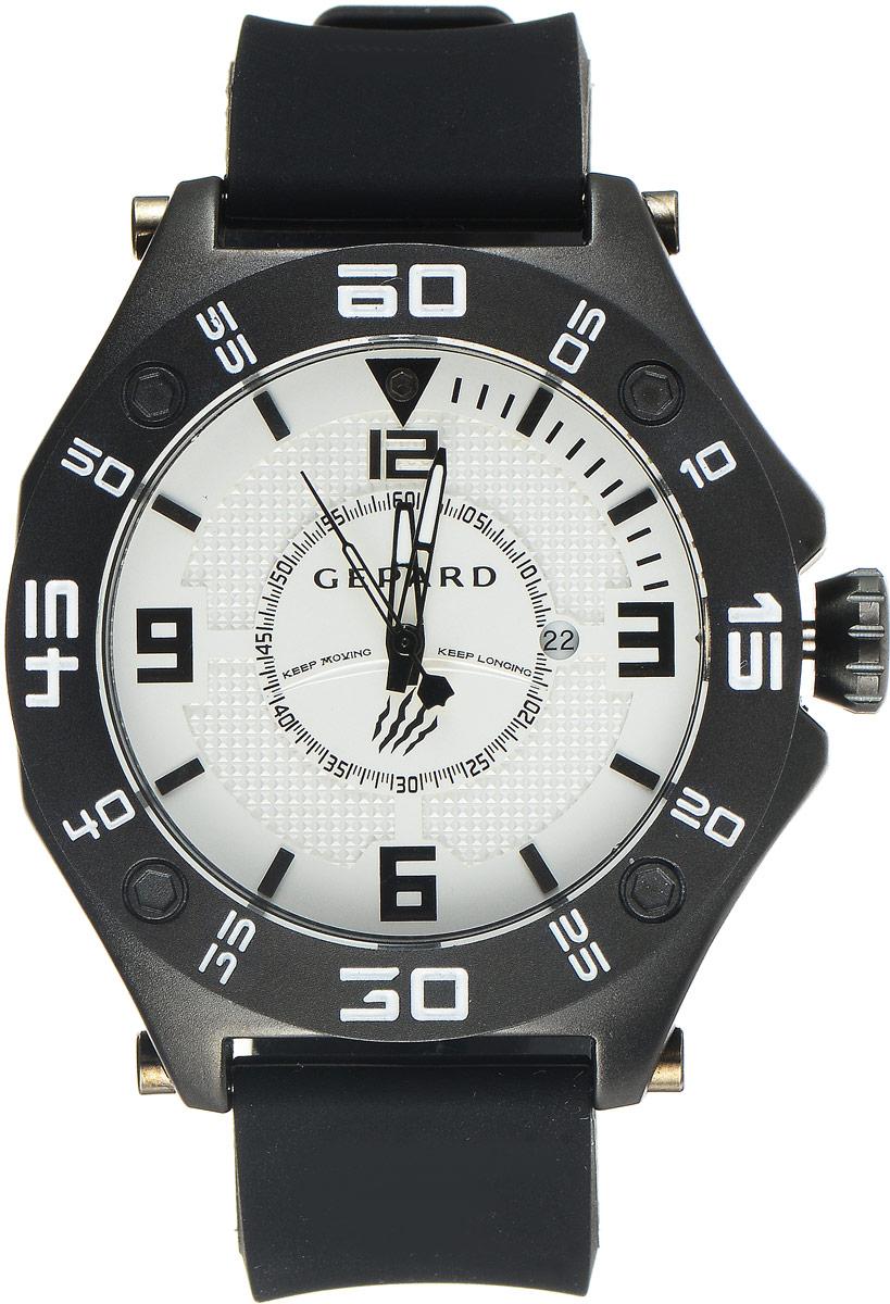 Наручные часы мужские Gepard, цвет: черный, белый. 1222A11L61222A11L6Наручные часы Gepard выполнены из металла. Циферблат оформлен символикой бренда. Оригинальная композиция двухуровневого циферблата представлена в виде сочетания ярких арабских цифр и широких стальных знаков, которую оттеняет необычное гильоширование «женевские гвозди» на нижнем уровне. Часы оснащены кварцевым механизмом, дополнены устойчивым к царапинам минеральным стеклом. Задняя крышка изготовлена из высокотехнологичной нержавеющей стали. Часы снабжены эргономичным силиконовым ремнем с надежной застежкой.