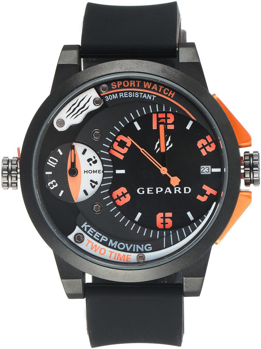 Наручные часы мужские Gepard, цвет: черный, оранжевый. 1221A11L41221A11L4Наручные часы Gepard выполнены из металла и минерального стекла. Циферблат оформлен символикой бренда. Корпус часов оформлен матовой поверхностью с весьма оригинальным циферблатом. Часы оснащены кварцевым механизмом, дополнены устойчивым к царапинам минеральным стеклом. Ремешок выполнен из силикона и оснащен пряжкой, благодаря которой можно с легкостью снимать и надевать изделие.